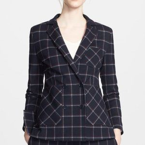 Band Of Outsiders Plaid Double Button Blazer